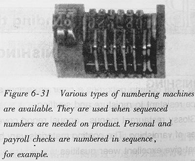 Various types of numbering machines are available. They are used when sequenced numbers are needed on product. Personal and payroll checks are numbered in sequence, for example.