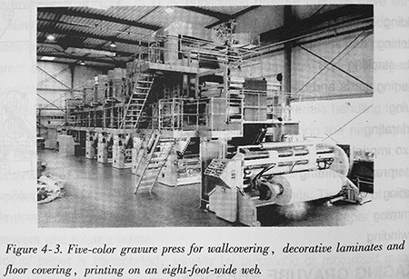 Five-color gravure press for wallcovering, decorative laminates and floor covering, printing on an eight-foot-wide web