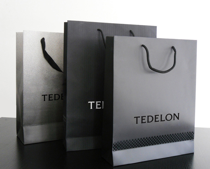 Black Paper Bag Custom Paper Bag Printing With Cloth